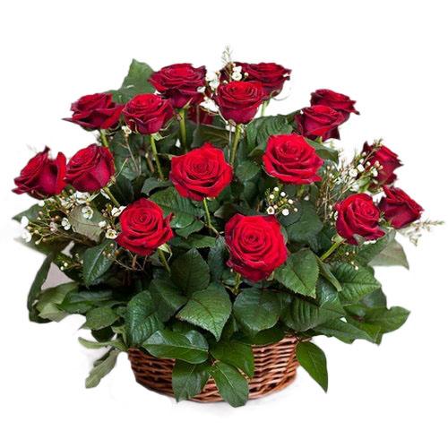 21 красная роза в корзине фото